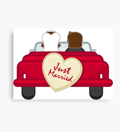Just Married Newlyweds Driving Canvas Print