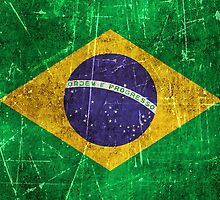 Vintage Aged and Scratched Brazilian Flag by Jeff Bartels