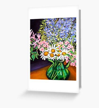 Daisies & Delphiniums Greeting Card
