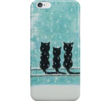 Cats in Snow: Three Cats on Fence with Tree and Snow iPhone Case/Skin