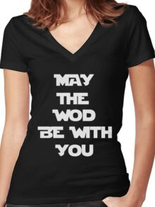 May The WOD Be With You - White Women's Fitted V-Neck T-Shirt