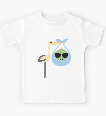 Stork Watermelon Emoji Cool Sunglasses Kids Tee