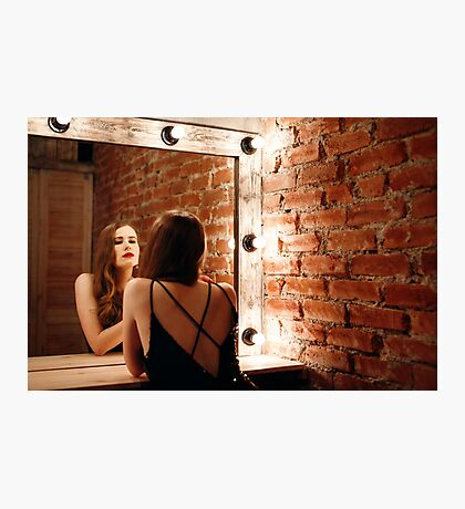 Seductive Woman in Black Dress Photographic Print