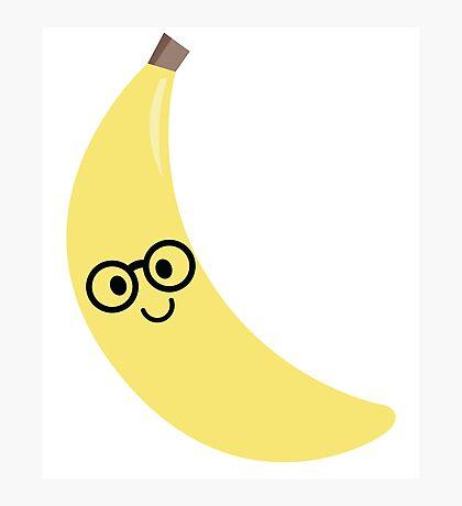 Banana Emoji Nerd Noob Glasses Photographic Print