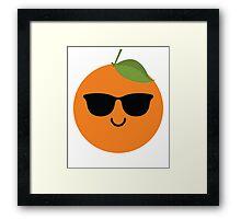 Orange Emoji Cool Sunglasses Framed Print