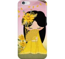 Harmony Kokeshi Doll in blends of yellow and green with a touch of pink iPhone Case/Skin