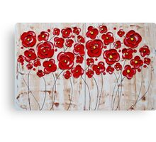 Red Poppies in the Sepia Rain Canvas Print