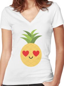 Pineapple Emoji Heart and Love Eye Women's Fitted V-Neck T-Shirt