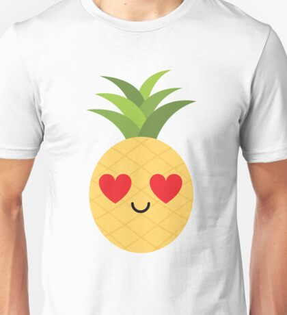 Pineapple Emoji Heart and Love Eye Unisex T-Shirt