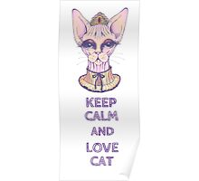 keep calm and love cat Poster