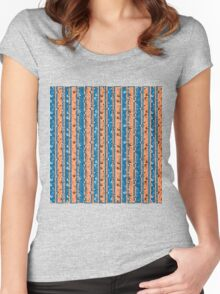 Floral Stripe, orange and Blue Women's Fitted Scoop T-Shirt
