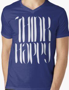 Think Happy [White Ink] Mens V-Neck T-Shirt