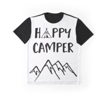 Happy Camper quote + Mountain for Kids Room Graphic T-Shirt