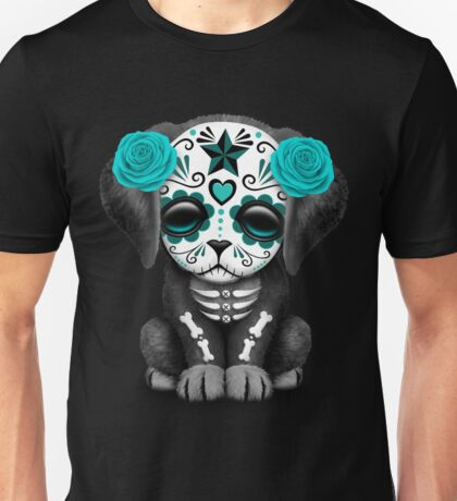 Cute Blue Day Of The Dead Puppy Dog Unisex T-Shirt