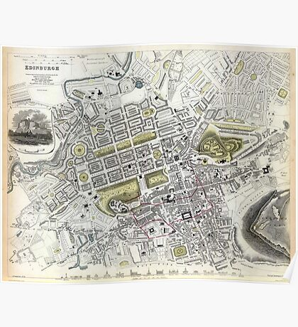 Plan of Edinburgh, Scotland - 1834 Poster