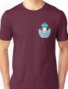 Cute penguin in a blue pocket Unisex T-Shirt