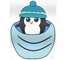 Cute penguin in a blue pocket Poster