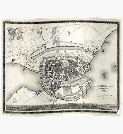 Plan of Copenhagen - 1844 Poster
