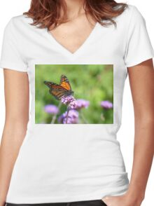 Autumn Beauty! - Monarch Butterfly - Otago - NZ Women's Fitted V-Neck T-Shirt