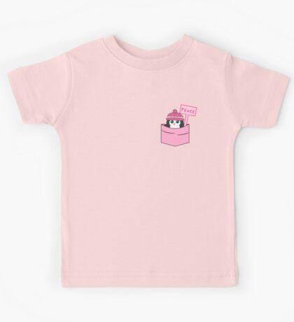 Peaceful cute penguin in pink Kids Tee