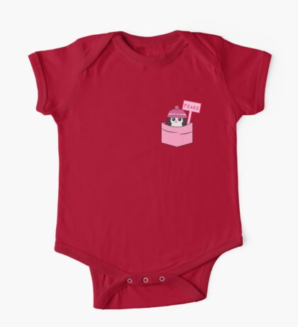 Peaceful cute penguin in pink One Piece - Short Sleeve