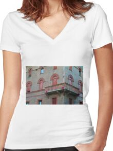 Red brick facade of building in Bologna, Italy Women's Fitted V-Neck T-Shirt