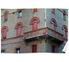 Red brick facade of building in Bologna, Italy Poster