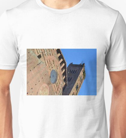 Detail of brick church with tower from Siena, Italy Unisex T-Shirt