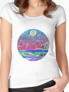 Pisces Constellation Watercolour Coastal Scene Women's Fitted Scoop T-Shirt