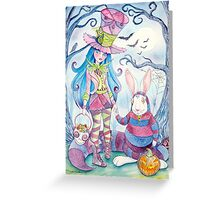 Alice and the White Rabbit, dressed as the Hatter and the Cheshire Cat for Halloween Greeting Card