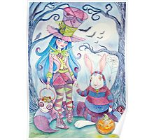 Alice and the White Rabbit, dressed as the Hatter and the Cheshire Cat for Halloween Poster