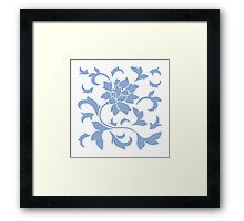 Oriental Flower - Serenity Blue On White Background Framed Print