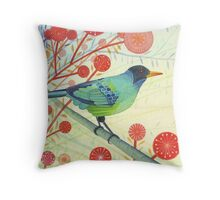 Green Honeycreeper Throw Pillow