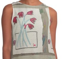red and blue naive vase of flowers Contrast Tank