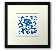 Oriental Flower - Snorkel Blue On White Background Framed Print