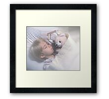 Keeping My Teddy Bear Safe. Framed Print