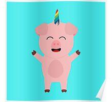 Unicorn Pig with rainbow Poster