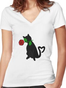 Cute Black Cat Red Rose Love Valentine Gift Women's Fitted V-Neck T-Shirt