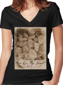 Pick Up My Heart (Sepia) Women's Fitted V-Neck T-Shirt