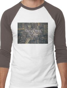 New York City Photo Typography Cool Vintage Design Men's Baseball ¾ T-Shirt