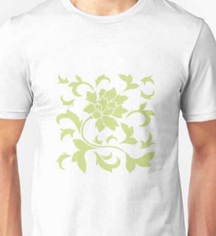 Oriental Flower - Daiquiri Green On White Background Unisex T-Shirt