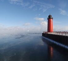 Lighthouse and Sea Smoke by Timothy  Ruf