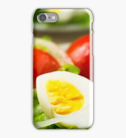 Boiled egg on a plate with lettuce, onions and cherry iPhone Case/Skin