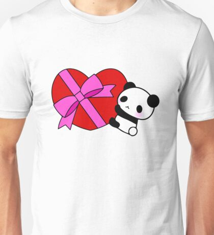 Cute Panda Valentine Gift Wrap Red Heart Pink Unisex T-Shirt