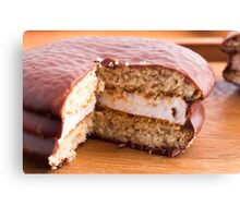 Biscuit with chocolate and a layer of milk souffle Canvas Print