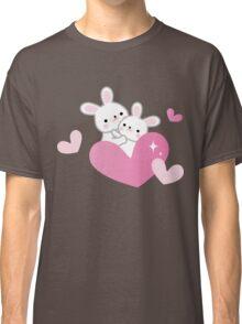 Cute Rabbits Hugs Pink Hearts Valentine Blush Kawaii Classic T-Shirt