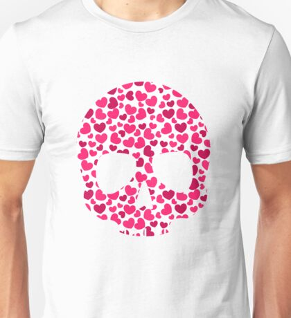 Fun Hearts Skull Pattern Valentine Skeleton Design Unisex T-Shirt