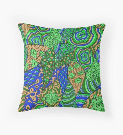 60s hippie abstract print Throw Pillow