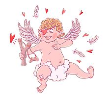 Valentine's day. Funny Cupid shoots with slingshot. Photographic Print