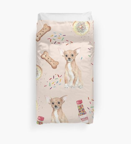 Chihuahua and donuts Duvet Cover